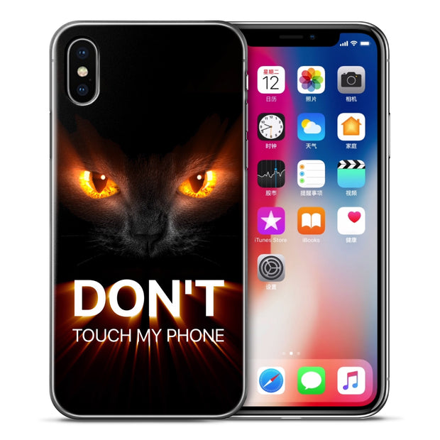 Funny Don't Touch My Phone Case For IPhone XS Max XR X 7 6 6s 8 Plus Xs 5 5S SE Silicone Cartoon Phone Cases Covers Etui Coque