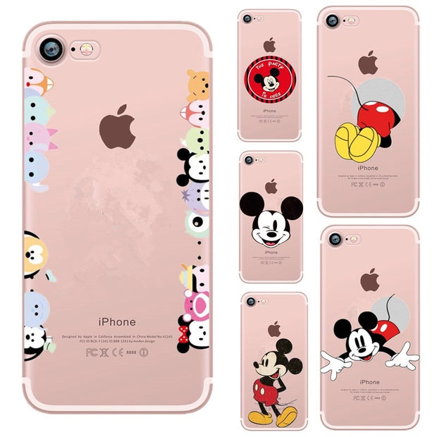 save off 372c2 dedc3 Funny STITCH Case Soft Silicone Cover For Iphone 7 Mickey Mouse Minnie  Funda For Iphone 6 6S 7 8 Plus X 10 Coque Capa Case