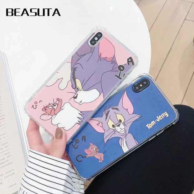 Funny Cartoon Tom Jerry Cat And Mouse Soft TPU Case For Coque IPhone X XR 7 8 Plus 6s 6plus Silicone XS MAX Transparent Case