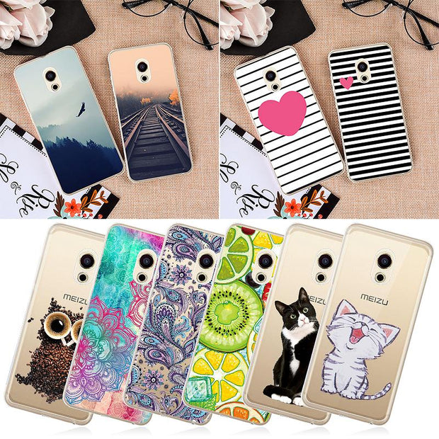 GerTong Cartoon Painting Silicone Soft TPU Phone Case For Meizu M3 S Mini M3 Note Cover Scenery Tiger Pattern Protective Shell