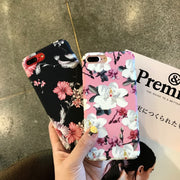 GerTong For IPhone 6 6S 7 Fresh Flower Painted Mobile Phone Case For IPhone 8 7 Plus X Hard Back Protective Coque Capa Fundas