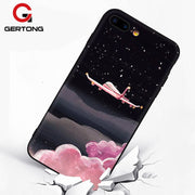 GerTong For IPhone 7 Case Soft TPU Patterned Flower Animal Scenic Mobile Phone Bags For IPhone 7 8 6 6S Plus X Fashion