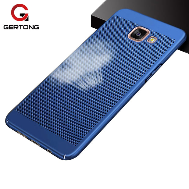 GerTong Luxury Hard PC Phone Case For Samsung Galaxy A5 A3 2017 A7 2018 J1 2016 C7 C8 J7 Plus Heat Dissipation Cover Slim Fundas