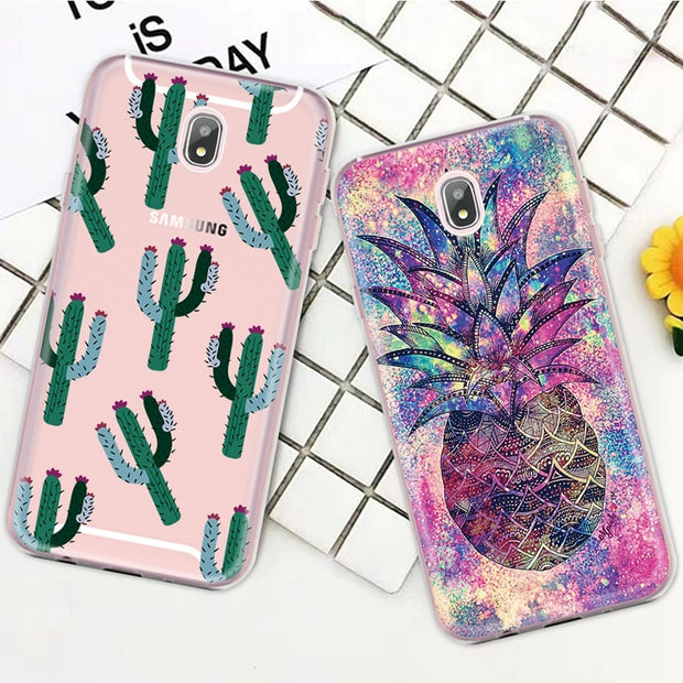 GerTong Phone Case For Samsung Galaxy S9 S8 A8 A6 Plus 2018 A3 A7 A5 J3 J7 J5 Vintage Green Leaf Flower Soft TPU Full Cover Capa