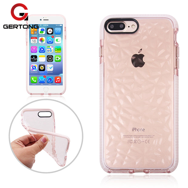 GerTong Silicon Diamond Pattern Case For IPhone X 7 7Plus Simple Shockproof Soft TPU Phone Bags Cover For IPhone 8 8Plus Shell