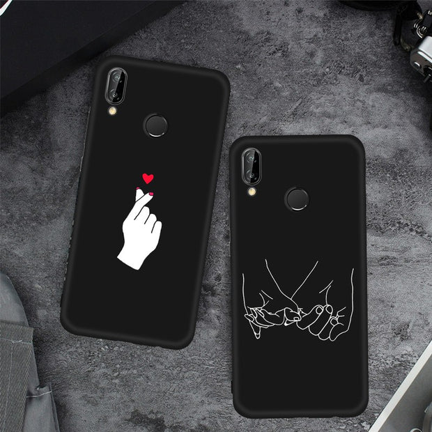 GerTong Silicone Black Simple Phone Case For Huawei Honor 8 Lite Nova2i Mate10 P20 Pro P10 P8 P9 Lite 2017 Soft Matte Back Cover