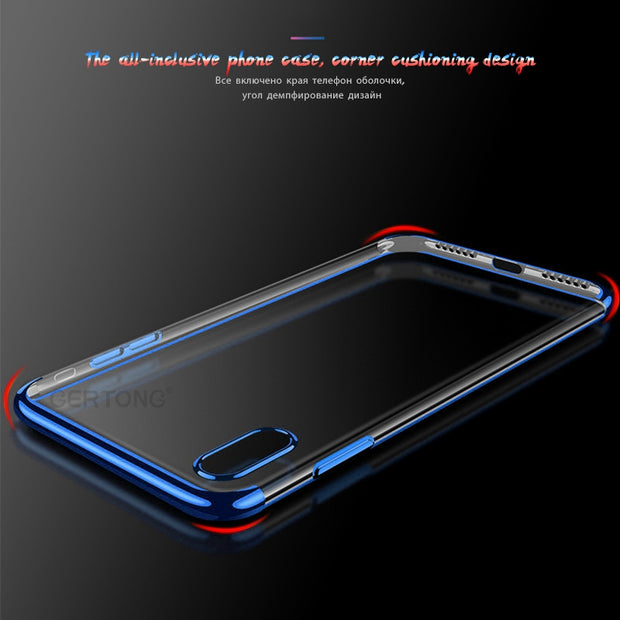 GerTong Soft TPU Plating Case For IPhone X 8 7 6 6S Plus Electroplating Shining Back Cover For IPhone X 8 7 6 6S Plus Housing