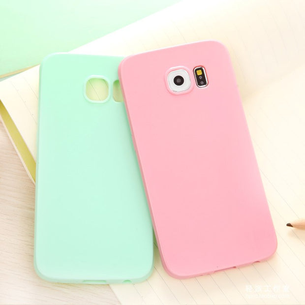 Girl Pink Solid Candy Color TPU Rubber Case Cover For Samsung Galaxy J3 J5 A3 A5 A7 2016 S7 S7 Edge Silicon Case Glossy