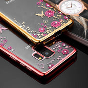 Glitter Soft TPU Flower Phone Case For Samsung Galaxy A8 A9 Star J7 J6 J4 A8 A6 Plus 2018 A3 A5 A7 J3 J5 J7 2017 S6 S7 S8 S9Plus