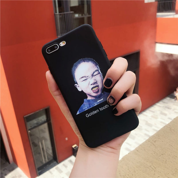 Goldent Tooth Boy Print Phone Case For Iphone 6 6S 7 8 Case For Iphone X Soft TPU Cover Funny Pattern Illustration Protect Cases