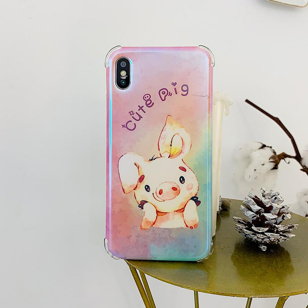 Gradient Cute Pig Phone Case For IPhone 6 6S 7 8 Plus Drop-proof Back Covers For Iphone 6 6S 7 8 For IPhone X XR XS MAX Funda