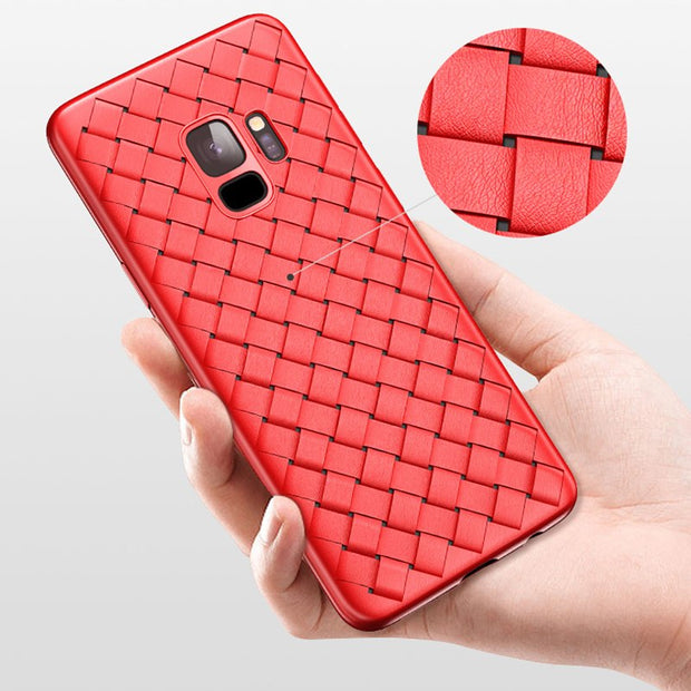 Grid Woven Case For Samsung S9 Cover Luxury Ultra Thin Matte Hollow Soft Silicone Phone Cases For Samsung Galaxy S9 Plus Coque