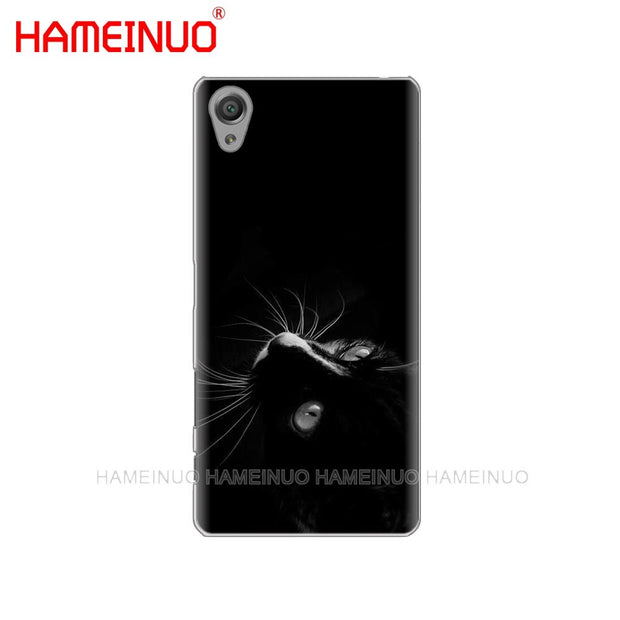 HAMEINUO Black Cat Staring Eye On Cover Phone Case For Sony Xperia Z2 Z3 Z4 Z5 Mini Plus Aqua M4 M5 E4 E5 E6 C4 C5