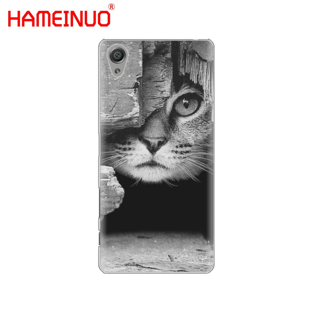 HAMEINUO Cat Looks At You Cover Phone Case For Sony Xperia Z2 Z3 Z4 Z5 Mini Plus Aqua M4 M5 E4 E5 E6 C4 C5