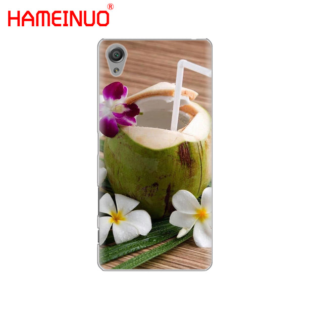 HAMEINUO Coconut On The Beach Cover Phone Case For Sony Xperia Z2 Z3 Z4 Z5 Mini Plus Aqua M4 M5 E4 E5 E6 C4 C5