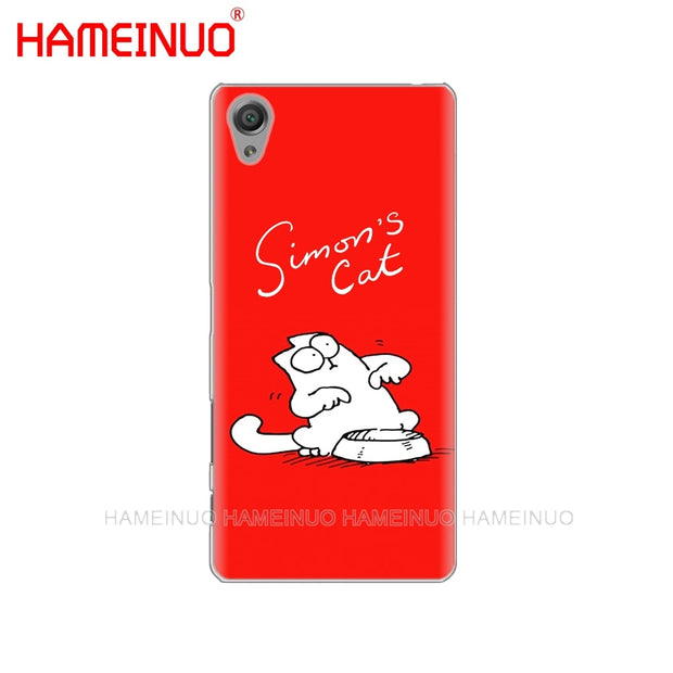 HAMEINUO Funny Cute Simons Simon's Cat Cats Cover Phone Case For Sony Xperia Z2 Z3 Z4 Z5 Mini Plus Aqua M4 M5 E4 E5 E6 C4 C5