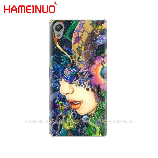 HAMEINUO Psychedelic Art Cover Phone Case For Sony Xperia Z2 Z3 Z4 Z5 Mini Plus Aqua M4 M5 E4 E5 E6 C4 C5