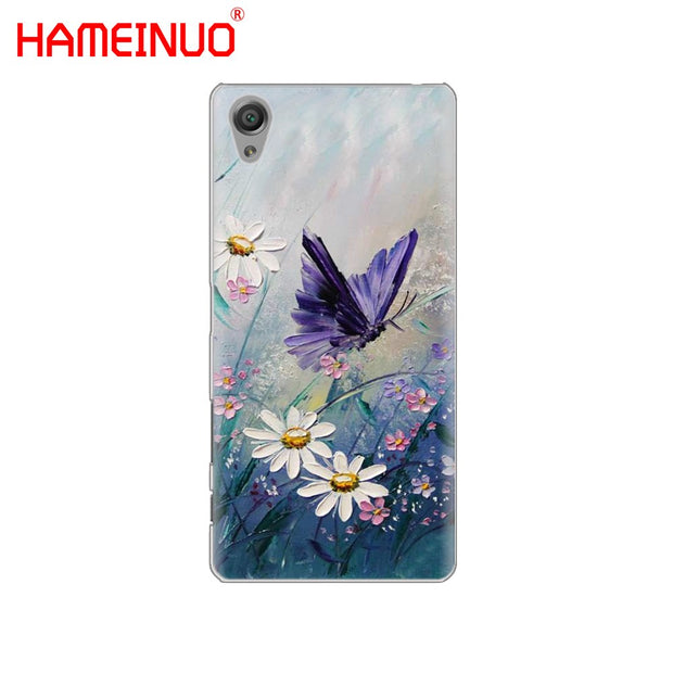 HAMEINUO Beautiful Flower Butterfly In Blue Cover Phone Case For Sony Xperia Z2 Z3 Z4 Z5 Mini Plus Aqua M4 M5 E4 E5 E6 C4 C5