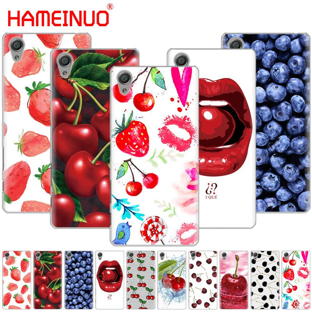 HAMEINUO Fruit Cherry Strawberry Design Cover Phone Case For Sony Xperia Z2 Z3 Z4 Z5 Mini Plus Aqua M4 M5 E4 E5 E6 C4 C5