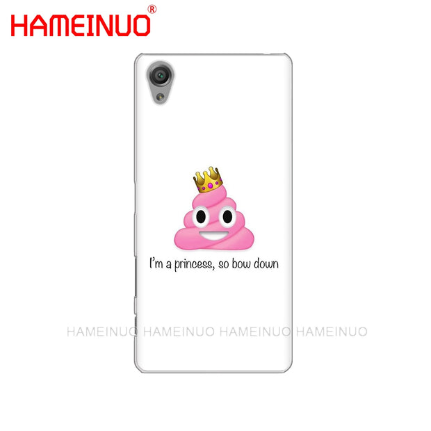 HAMEINUO Funny Emoji Shit Cover Phone Case For Sony Xperia Z2 Z3 Z4 Z5 Mini Plus Aqua M4 M5 E4 E5 E6 C4 C5