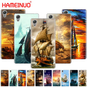 HAMEINUO Sailing Ship Sightseeing Boat Pirate Ship Phone Case For Sony Xperia Z2 Z3 Z4 Z5 Mini Plus Aqua M4 M5 E4 E5 E6 C4 C5