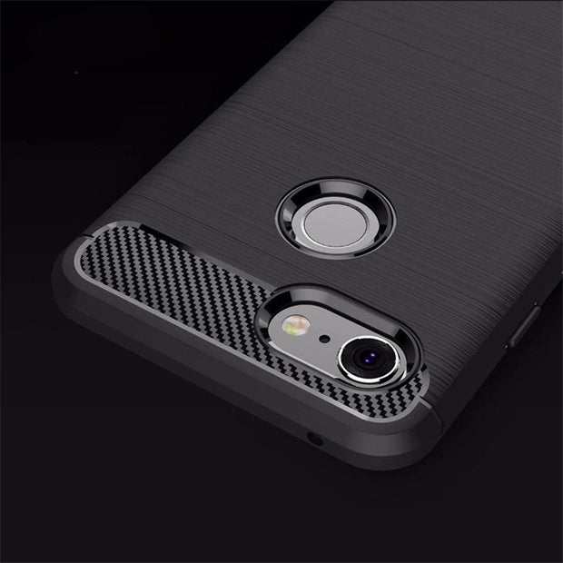 HEMASOLY Case For Google Pixel 3 Case Soft TPU For Google Pixel 3 XL Silicone Case Carbon Fiber Brushed Shockproof Shell