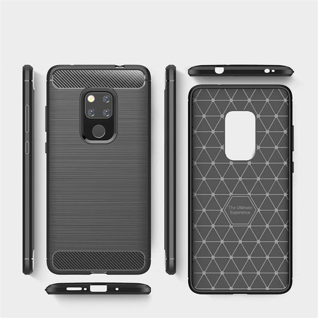 HEMASOLY Case For Huawei Mate 20 Pro Case Soft TPU Mate 20 Honor 8X Max Silicone Case Carbon Fiber Brushed Phone Shell