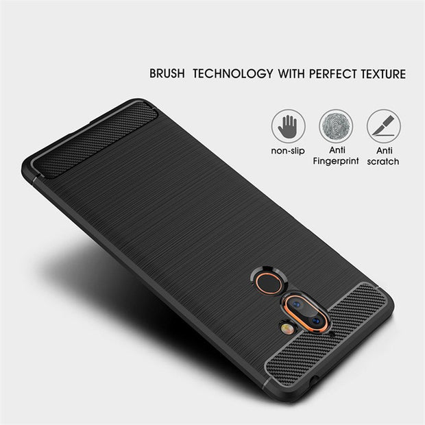 HEMASOLY Case For Nokia 8 Sirocco 8 7 Plus 6 5 4 3 2 1 Case Soft TPU For Nokia 6 2018 Silicone Case Carbon Fiber Brushed Shell
