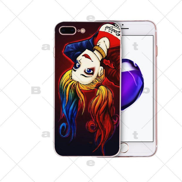 Harley Quinn Transparent TPU Soft Rubber Phone Cover For IPhone X XS MAX 6 6S 7 7plus 8 8Plus 5 5S XR
