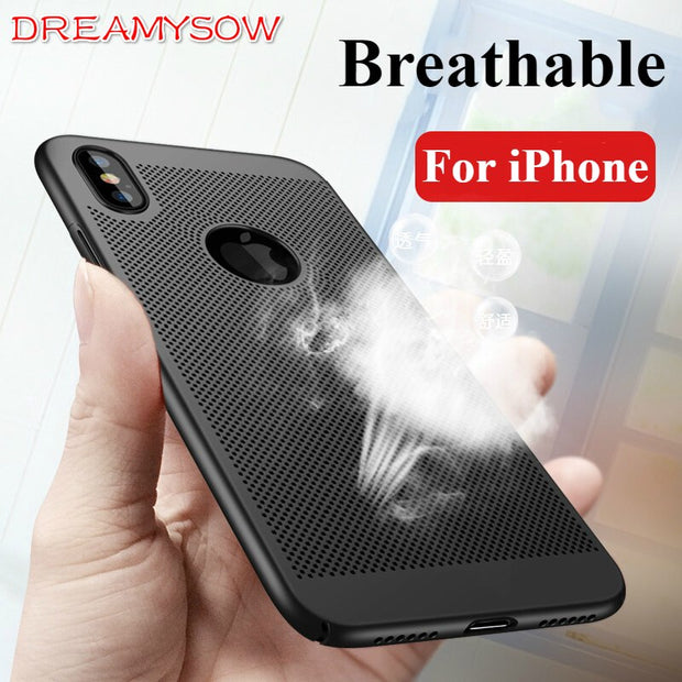 Hollow Heat Dissipation Case For IPhone XS MAX XR 8 6 6s 7 Plus Ultra Thin Cases For IPhone 8 Plus 5 5S SE Hard PC Cover Coque