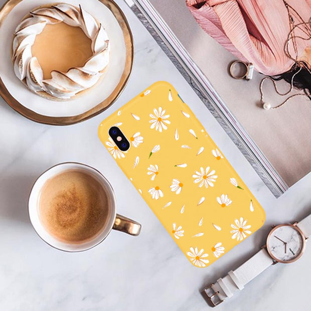 Hot Sale Candy Color Floral Petal Small Daisy Protective Soft Silicone Phone Case Cover For IPhone 6 7 7 Plus 8 8 Plus X 6 Plus