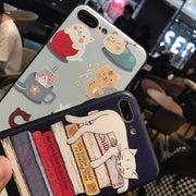 Hot Sale Cat Cute Cartoon TPU Silicone Mobile Phone Case For Iphone7 7P 6 6s 6P Fashion Cell Phone Back Cover Case+Phone Lanyard