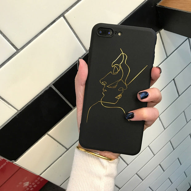 Hot For IPhone 6 6s Plus 7 Plus 8 Plus Phone Cases Golden Lines Funny Graffiti TPU Silicon For IPhone X Cover Case Capa Coque