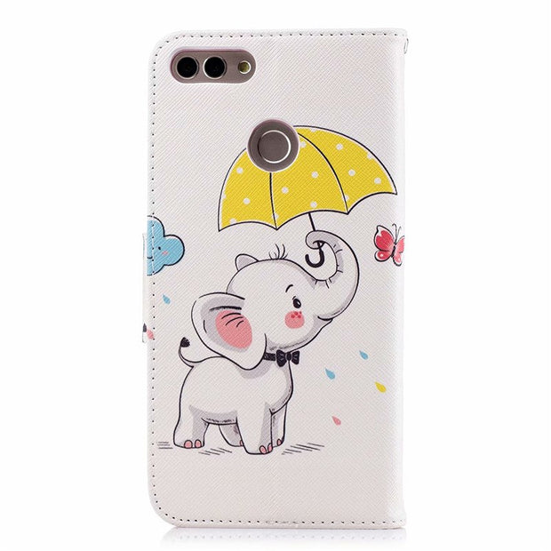 Huawei Y9 2018 Leather Case On For Huawei Y9 2018 Y 9 2018 Cover Caso Cute Panda Wallet Flip Mobile Phone Bag Cases Fundas Coque