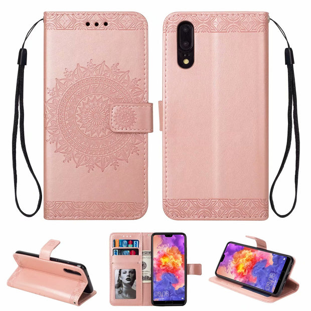 Hxairt Case For Huawei P20 Pro P20 Lite Luxury PU Leather Wallet Flip Covers Phone Bags Cases