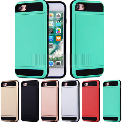 Hybrid Dual Layer PC+TPU Card Holder Slot Cover Shockproof Impact Protective Armor Case For Apple IPhone 7 4.7 Inch Cover