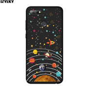 IZYEKY Case For Huawei Honor 7A Pro Moon Stars Planet Flower Silicone Coverfor Honor7A Coque For Huawei Honor 7A Pro 5.7 Inch