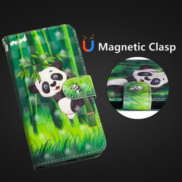 J3 2016 Case On For Fundas Samsung Galaxy J3 J310 J310F J320 Case Cute Panda Leather Luxury 3D Painted Flip Wallet Cover Coque