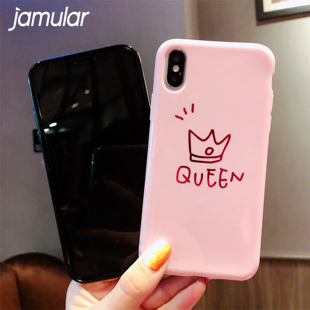 JAMULAR Phone Case For IPhone 6 6S 6Plus 7 7Plus 8Plus Glossy Hot Stamping Crown For IPhone X XS XR XS MAX TPU Soft Shell Coque