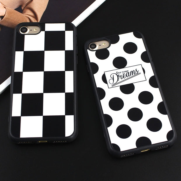 JAMULAR Silicone Mirror Square Polka Dots TPU Cases For Iphone 7 Plus 6 6s 8 Plus 5 5s SE Cases Back Covers Fundas Coque