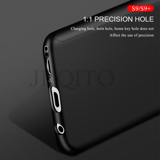 JRQITO Luxury 360 Degree Phone Case For Samsung Galaxy S9 S8 Plus S9 With Film Full Cover Cases For Samsung Note 8 S7 Edge Case
