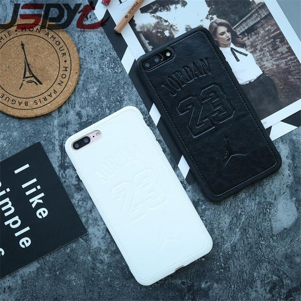 JSPYL For IPhone 7 8 Plus 6 6s Plus Case Sports Air Jordan 23 Phone Cover Soft Luxury Leather Couple Cases For IPhone X Capa