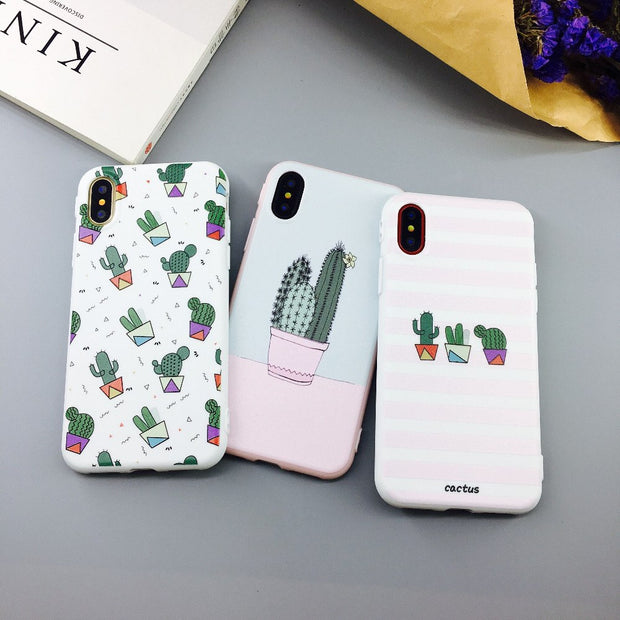 JSPYL Luxury Green Catus Back Cover Case For IPhone X Soft Silicone Cases For IPhone 7 8 Plus 6 6s Plus Capa Cute Plants Fundas