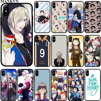 Japanese Anime YURI On ICE Black Silicone Phone Cases For Apple IPhone 6 6S 7 8 Plus X XR XS MAX 5S SE Soft TPU Case Cover