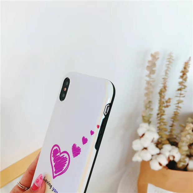 KASONPAI Blu-ray Love Heart Phone Cases For Iphone X Shiny Soft Silicon Mirror Case For Iphone 6 6s 7 8 Plus Back Cover Capa