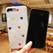KASONPAI Candy Color Laser Love Hearts Phone Case For IPhone X Case For Iphone 6 6S 7 8 Plus Luxury Soft IMD Cover Cartoon Cases