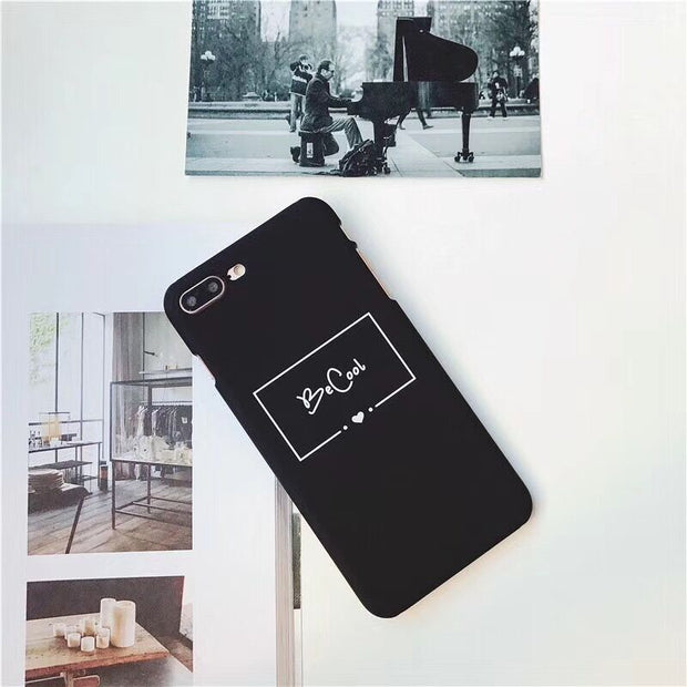 bff97e238b KL-Boutiques Cartoon Letter For IPhone 5 5S SE Case Couple Hard Scrub Back  Cover For IPhone 8 7 6 6S Plus Slim Phone Cases
