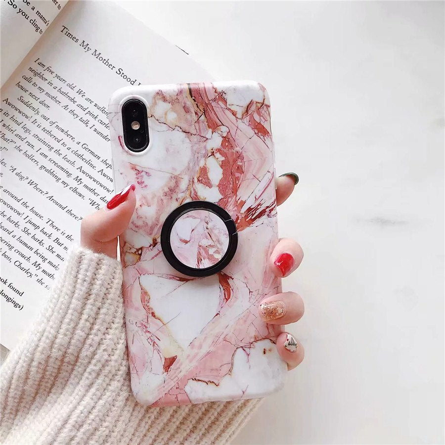 Kickstand Marble Case Ring Holder Silicone Phone Cover For Huawei Nova 3  Nova 3i Nova 3e Nova3 Nova 2S Fashion Grip Stand Case
