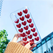Korean 3D Glitter Love Heart Phone Case For IPhone 7 8 X 6 6S Plus Cases Jelly Candy Soft Clear Gel Silicon TPU Back Cover Funda