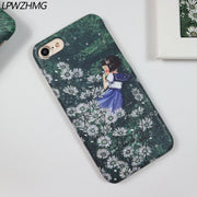 LPWZHMG Cartoon Girl Hard PC Phone Case For Iphone 8 7 6 6s Plus Hard Plastic Back Cover Half-wrapped Cases For Iphone 6S